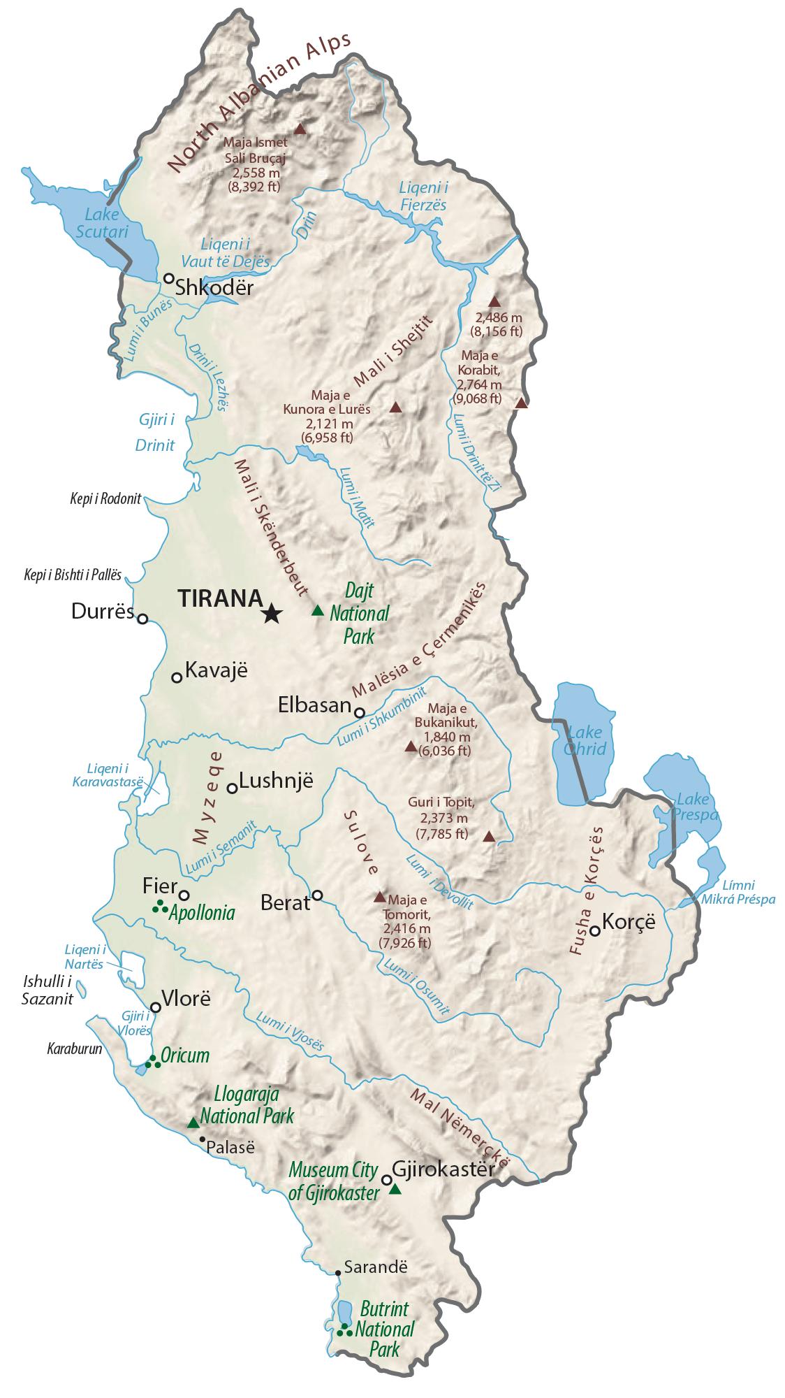 Albania Physical Map