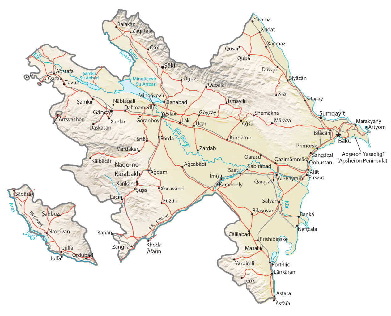 Azerbaijan Physical Map