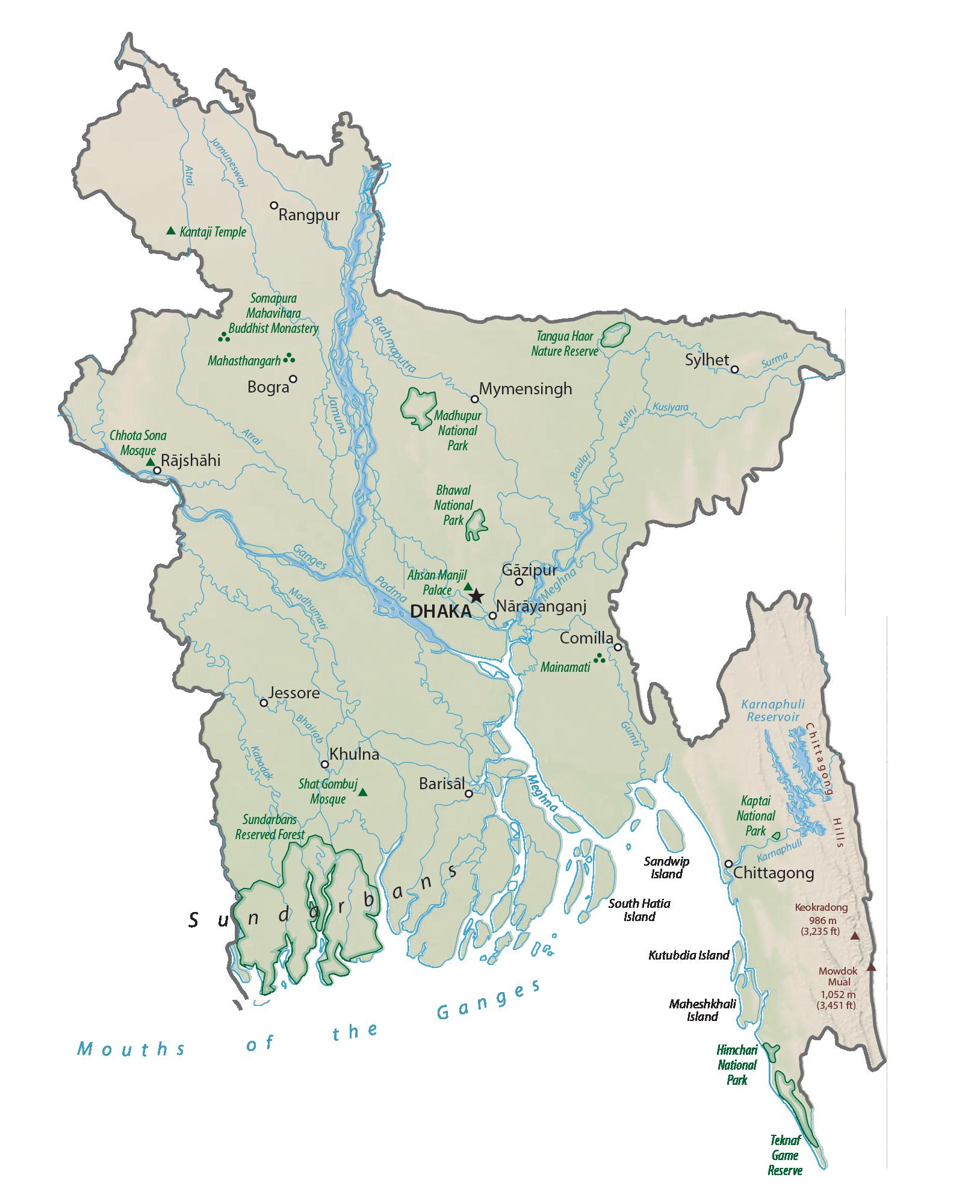 Bangladesh Physical Map