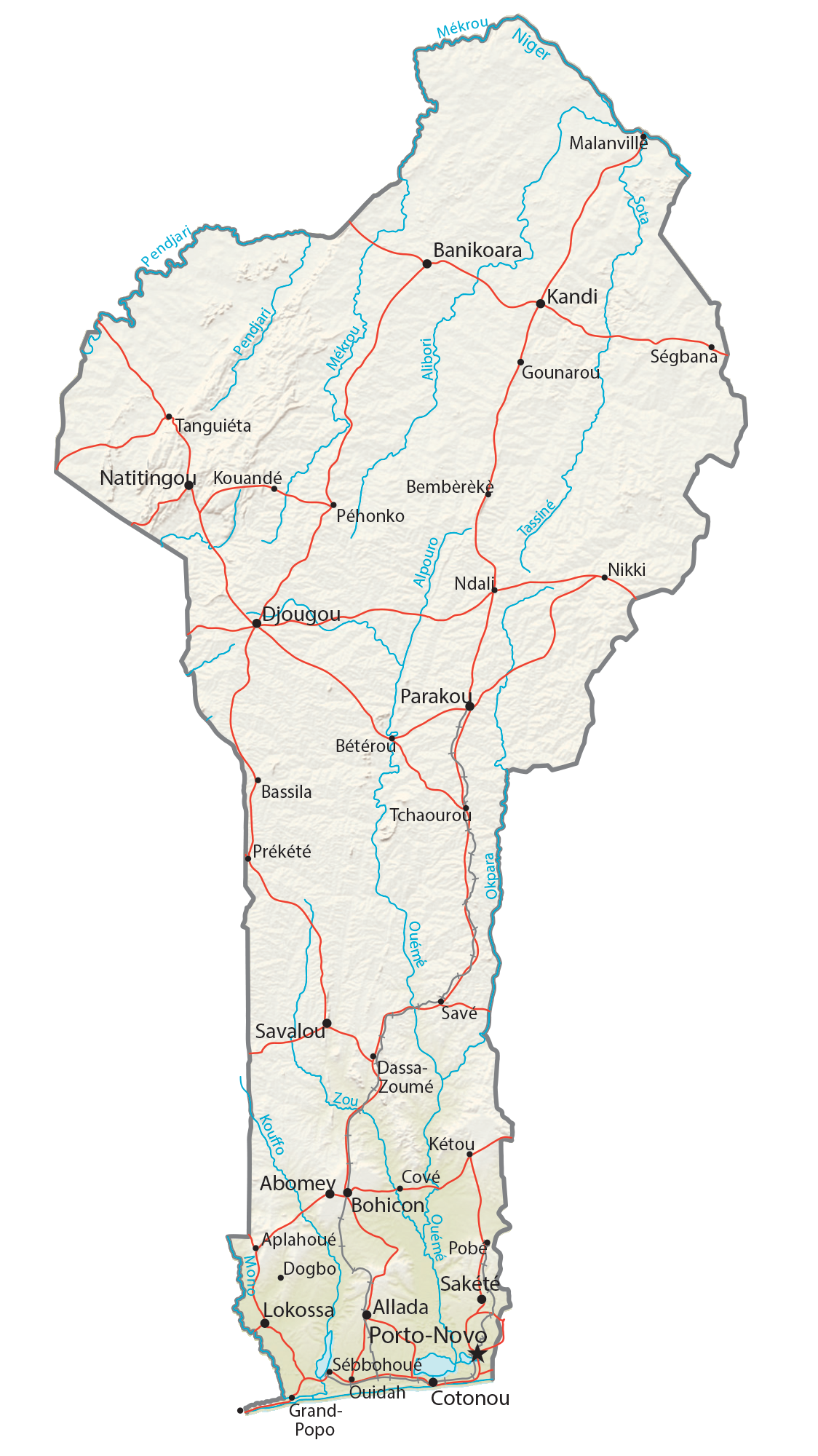Benin Physical Map
