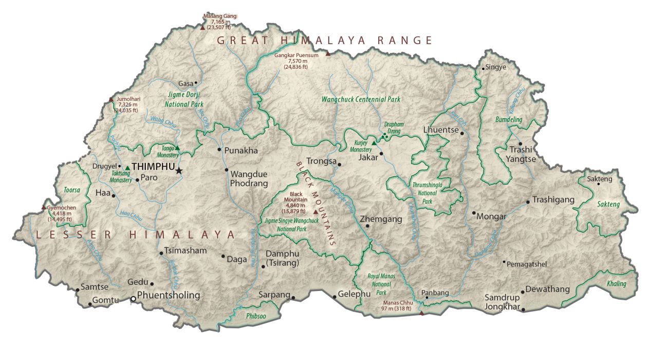Bhutan Physical Map