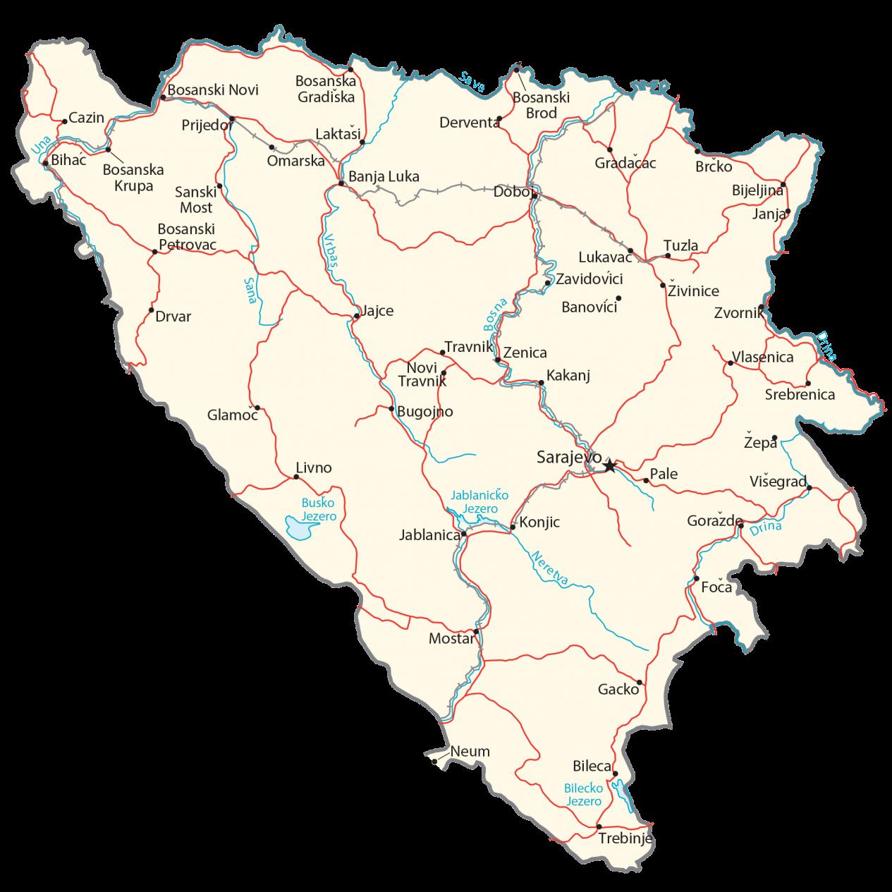 Bosnia and Herzegovina Map