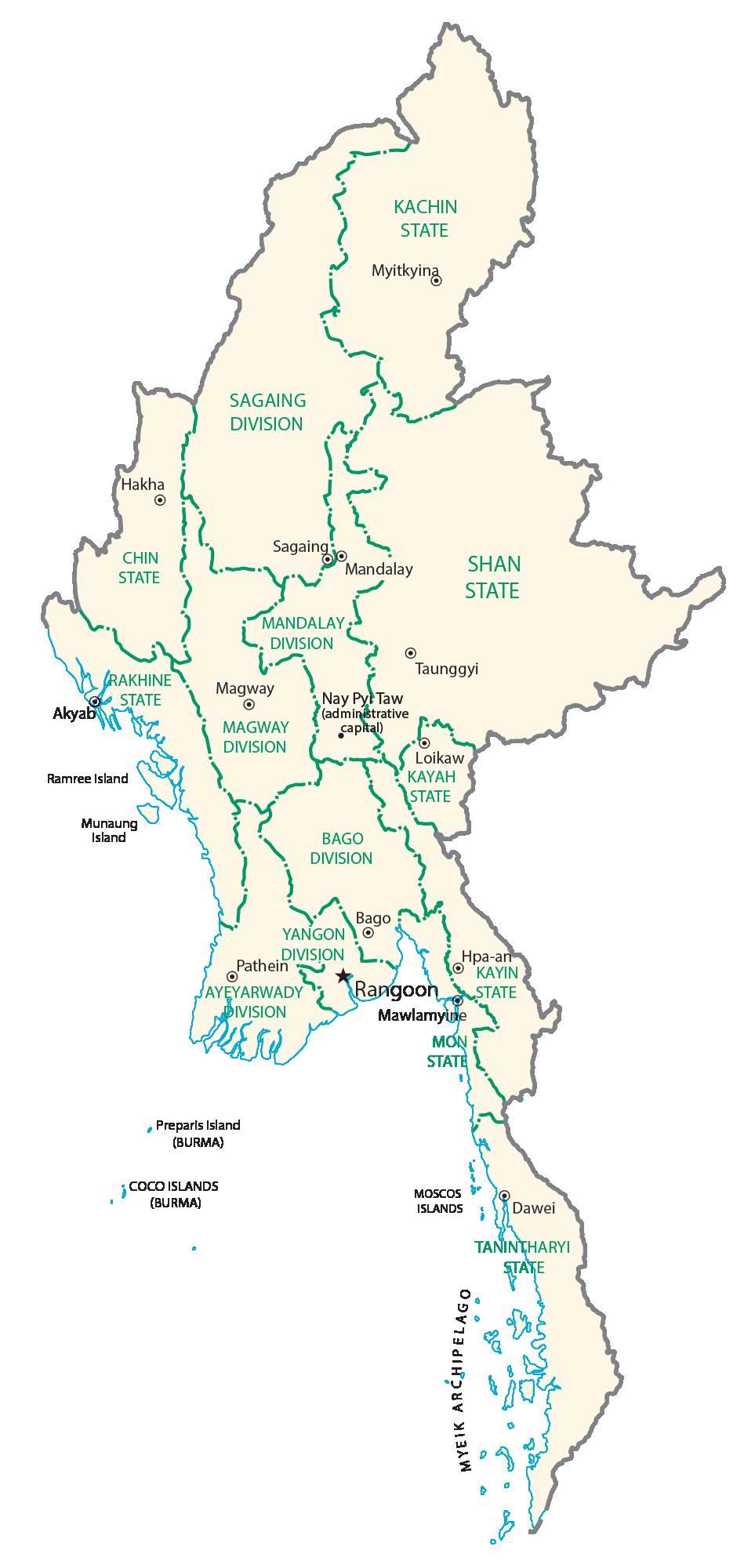 Burma Administrative Map
