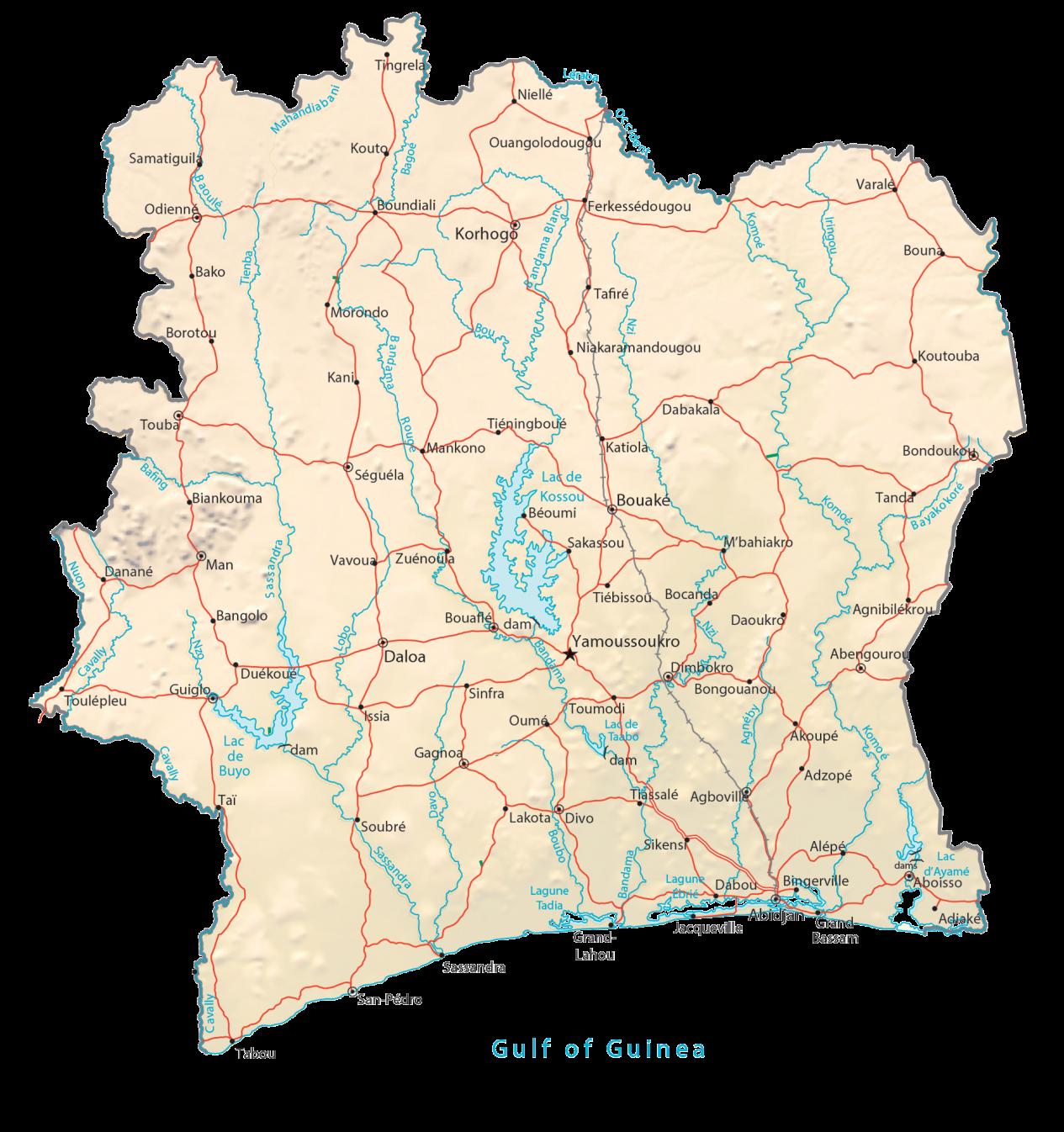 Ivory Coast Physical Map