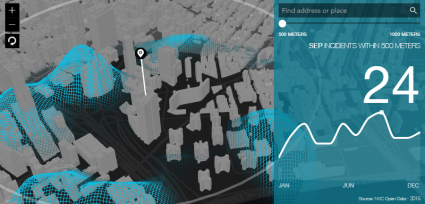 esri javascript api crime animated 3D heatmap