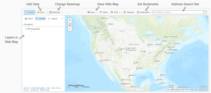 ArcGIS Online Webmap Interface