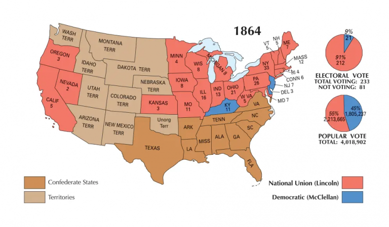US Election of 1864 Map