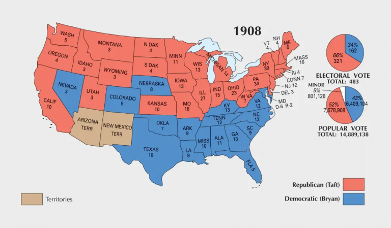 US Election of 1908 Map