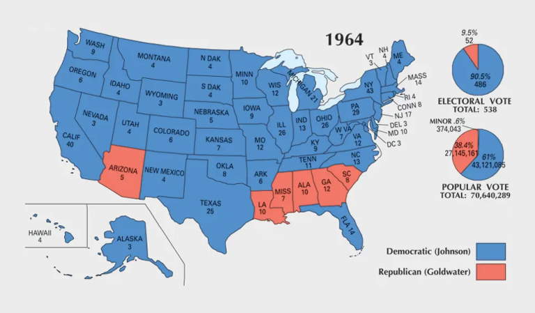 US Election of 1964 Map