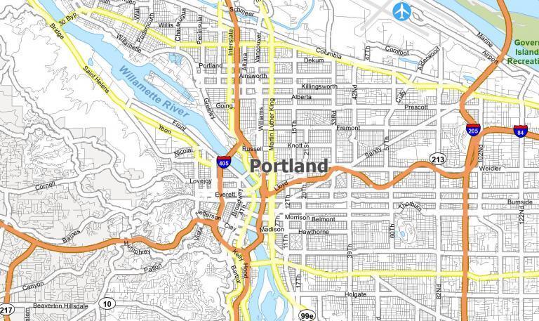 Portland Oregon Map
