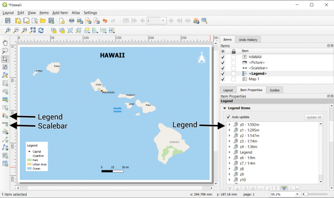QGIS legend scalebar