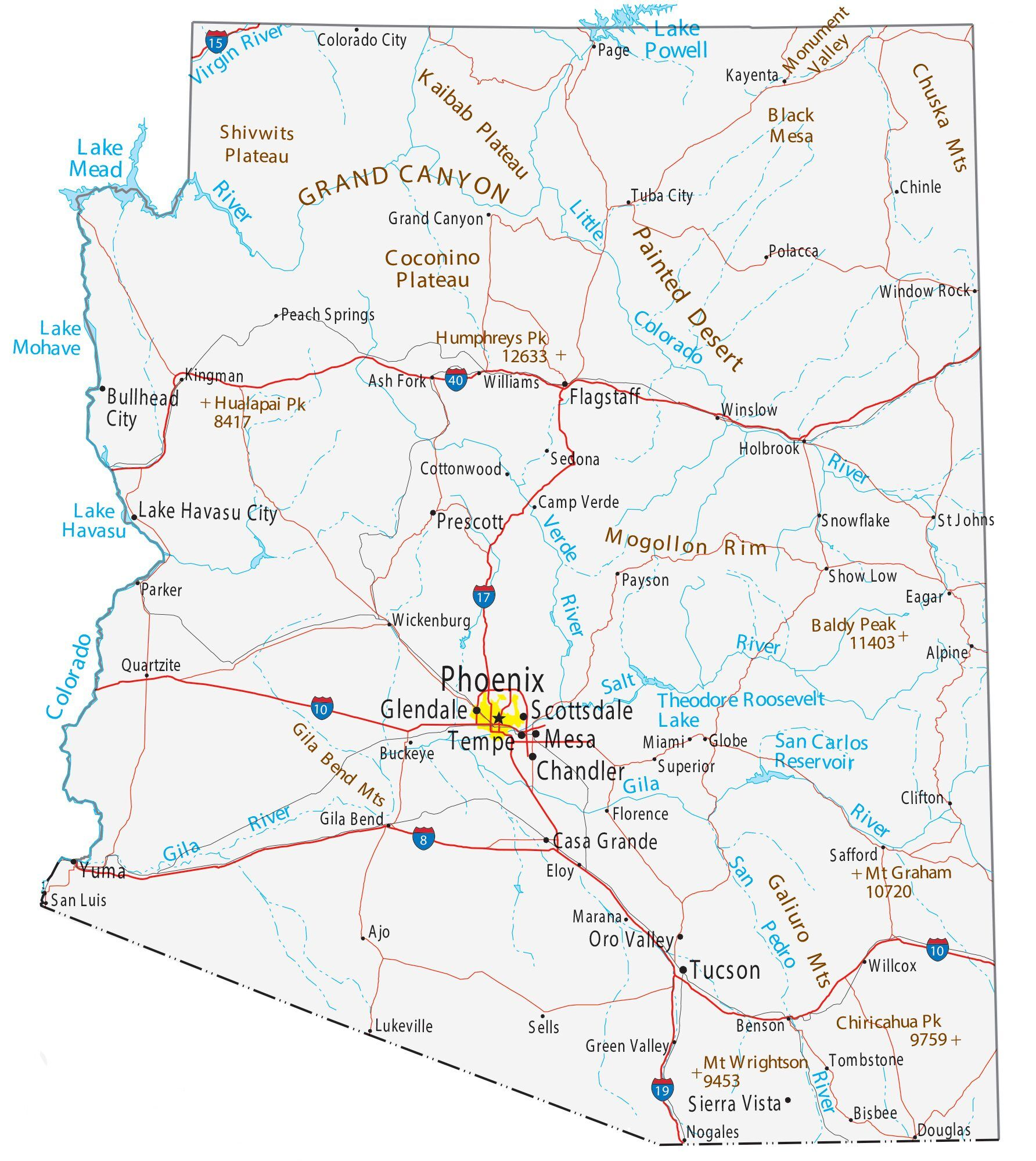 Picture of: Arizona Map Cities And Roads Gis Geography