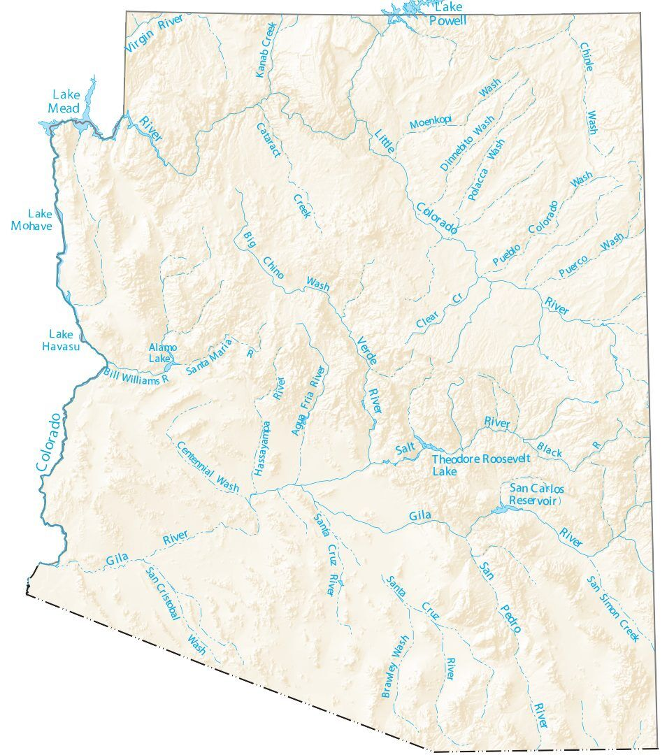 map of az lakes Arizona Lakes And Rivers Map Gis Geography map of az lakes