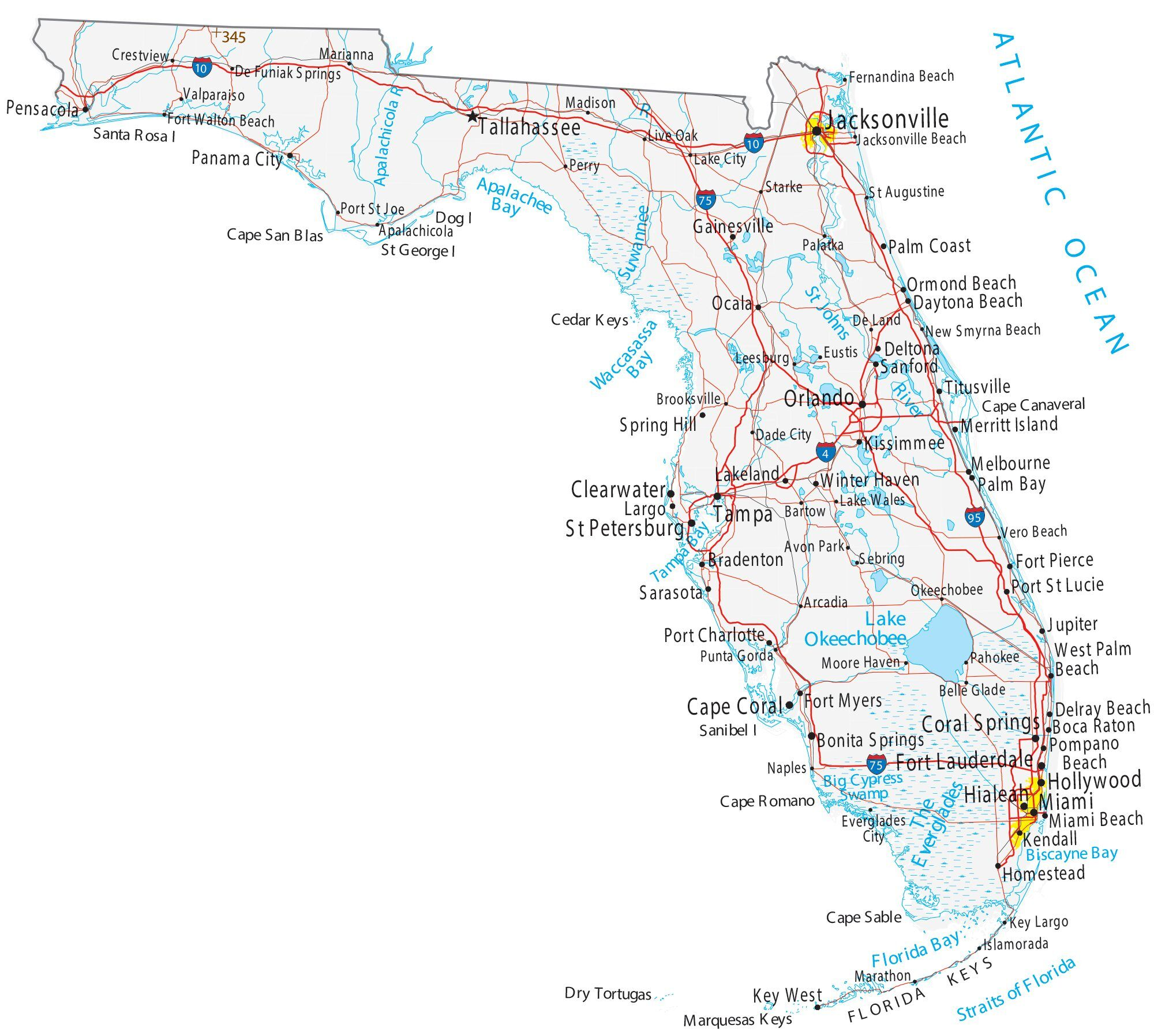 Florida Map With Cities And Towns Map of Florida   Cities and Roads   GIS Geography