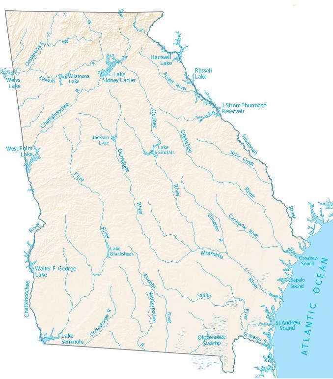 Georgia Lakes and Rivers Map