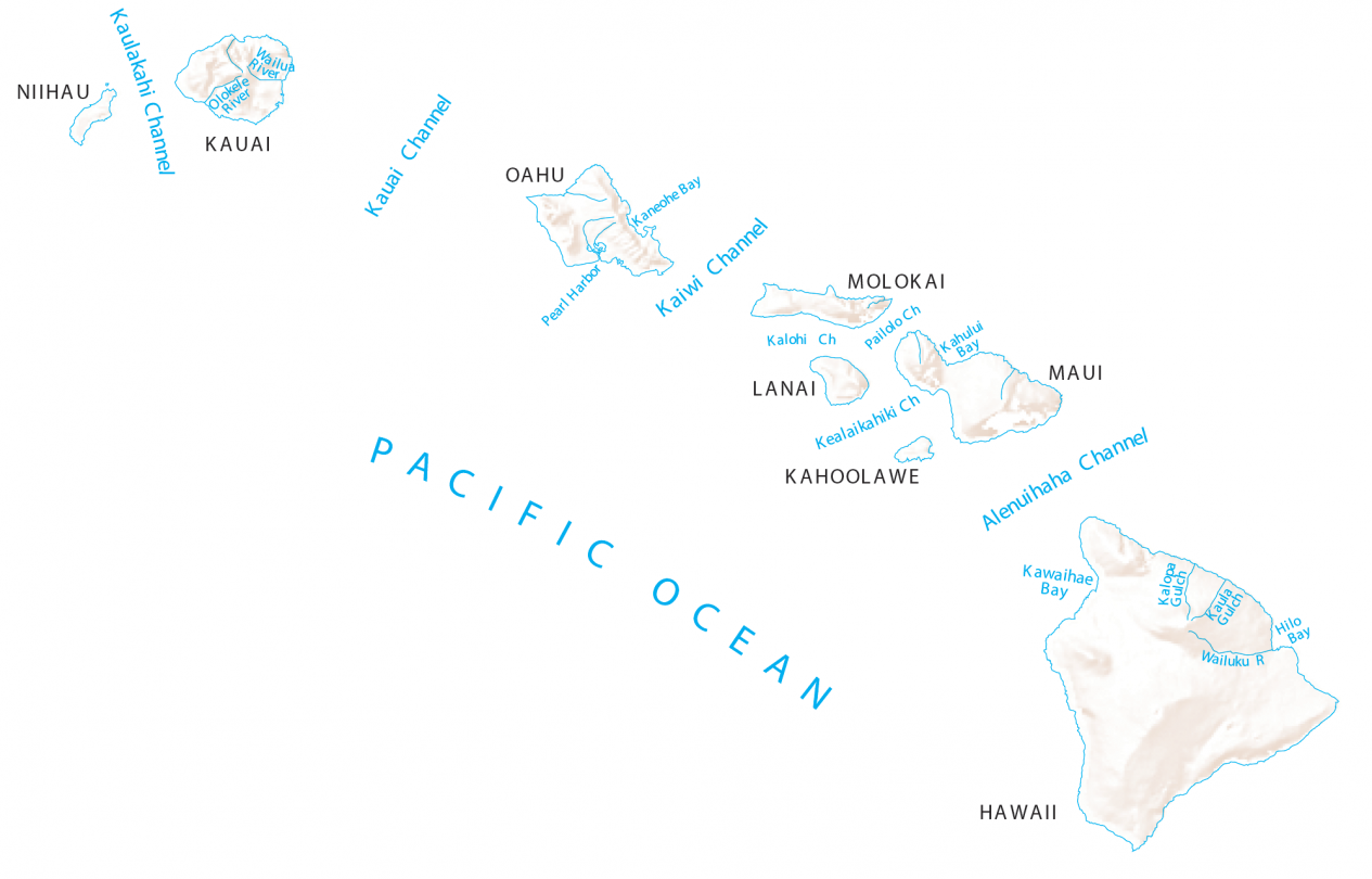Hawaii Rivers and Lakes Map