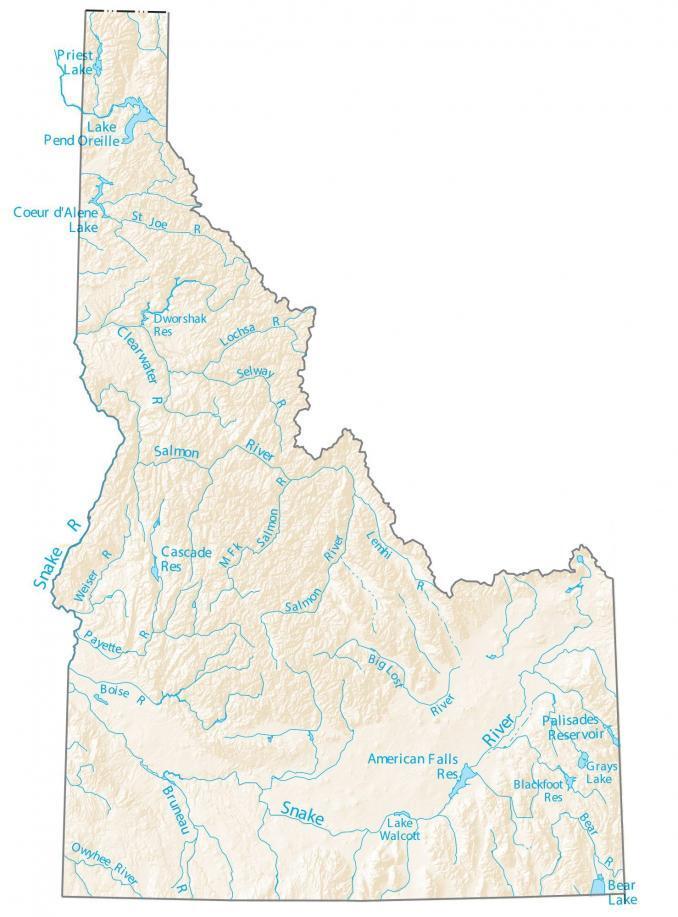 Idaho Lakes and Rivers Map