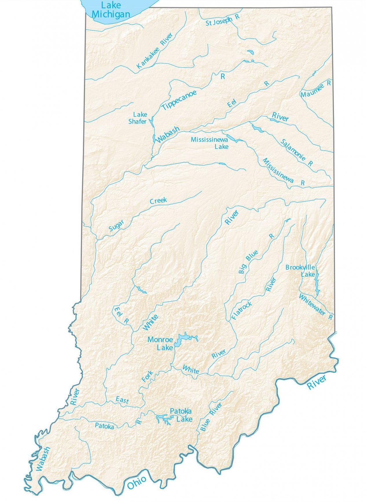 Indiana Lakes and Rivers Map