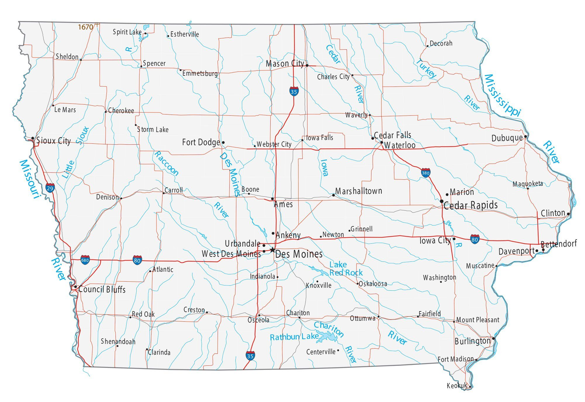 Iowa Map With Cities Map of Iowa   Cities and Roads   GIS Geography
