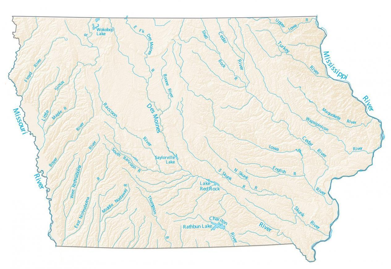 Iowa Lakes and Rivers Map