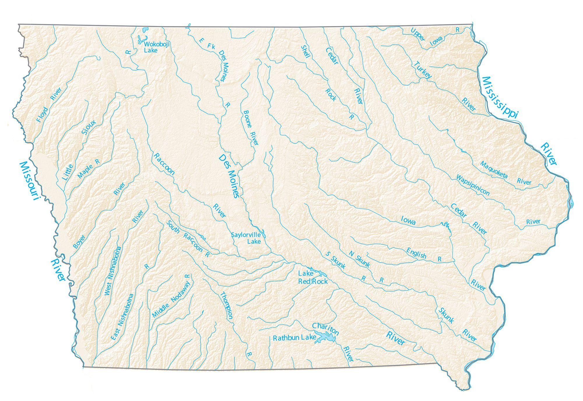 spirit river oregon map Iowa Lakes And Rivers Map Gis Geography spirit river oregon map