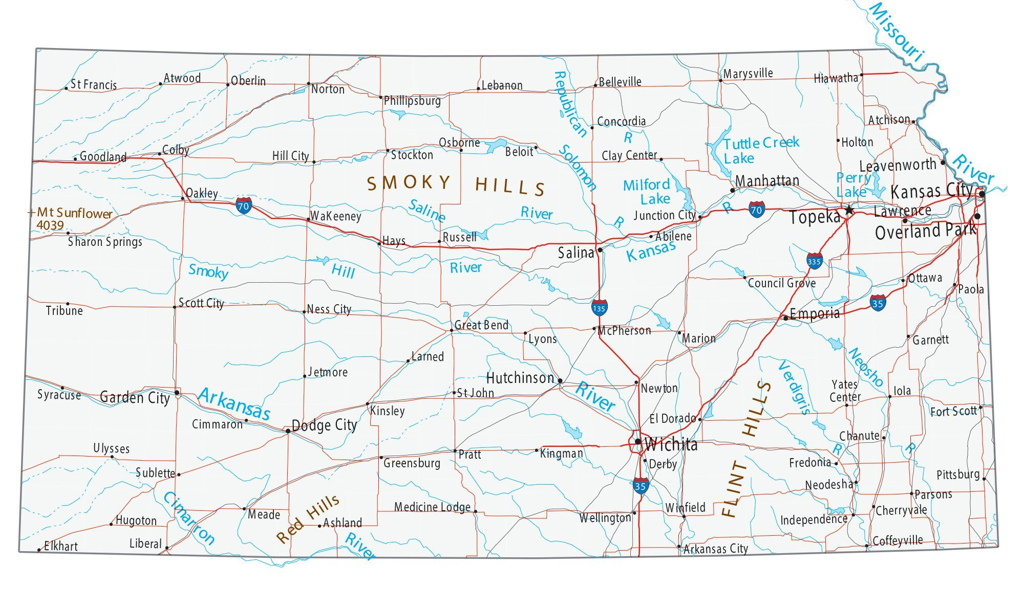 Kansas Map With Cities Map of Kansas   Cities and Roads   GIS Geography