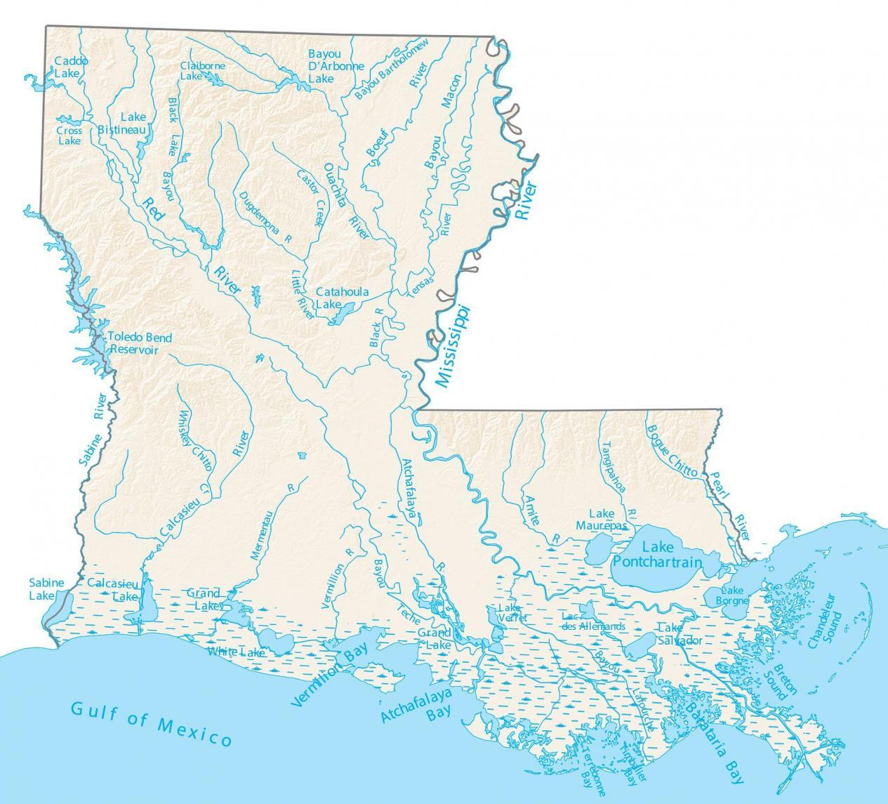 Louisiana Lakes and Rivers Map