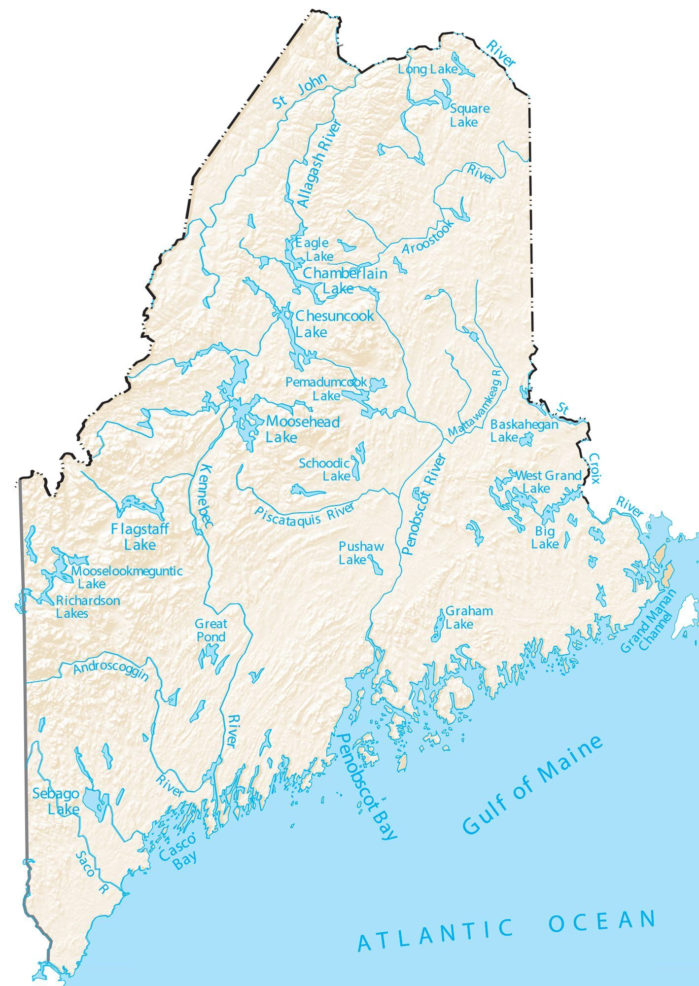 Lakes In Maine Map Maine Lakes and Rivers Map   GIS Geography