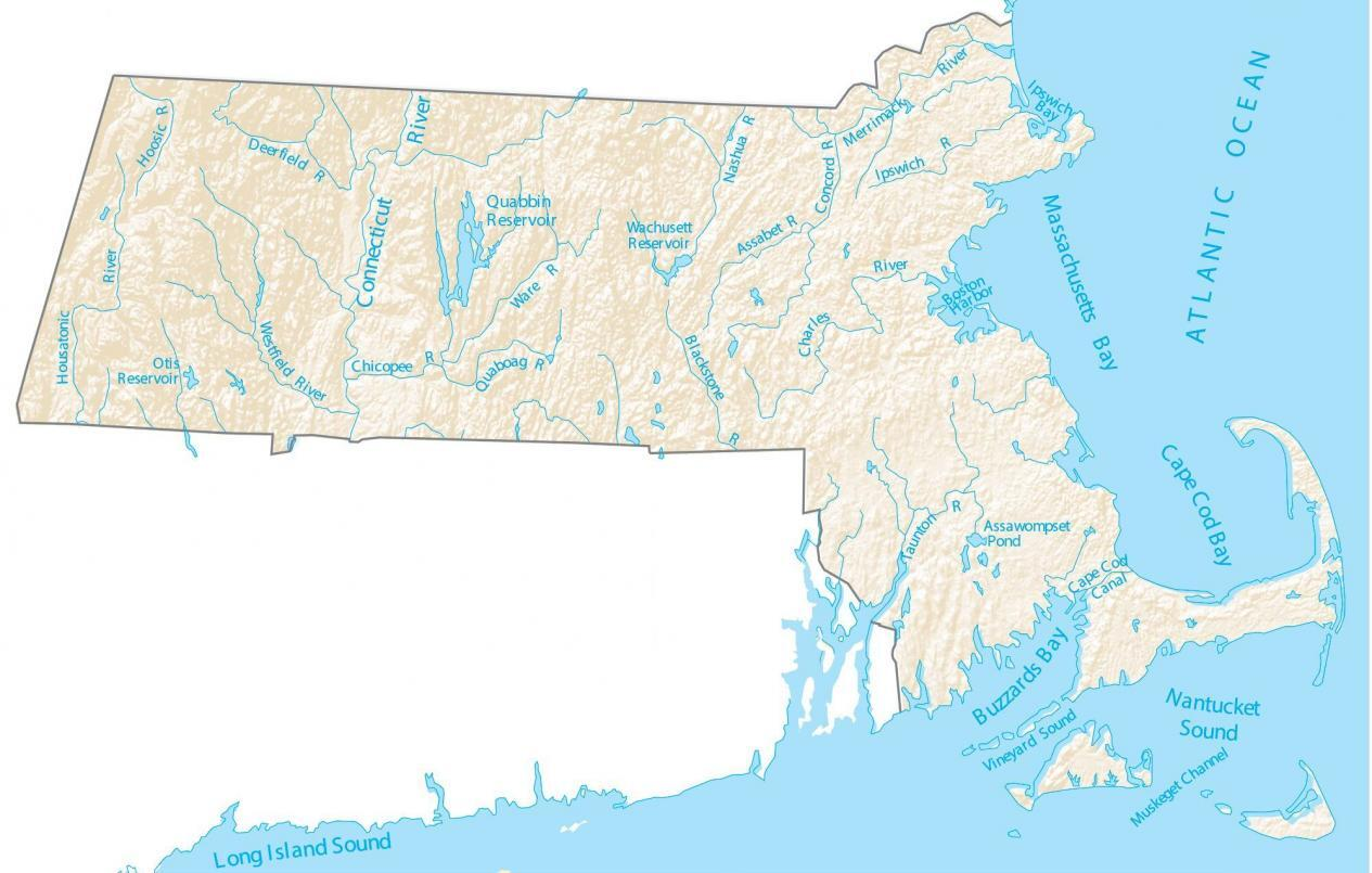 Massachusetts Lakes and Rivers Map