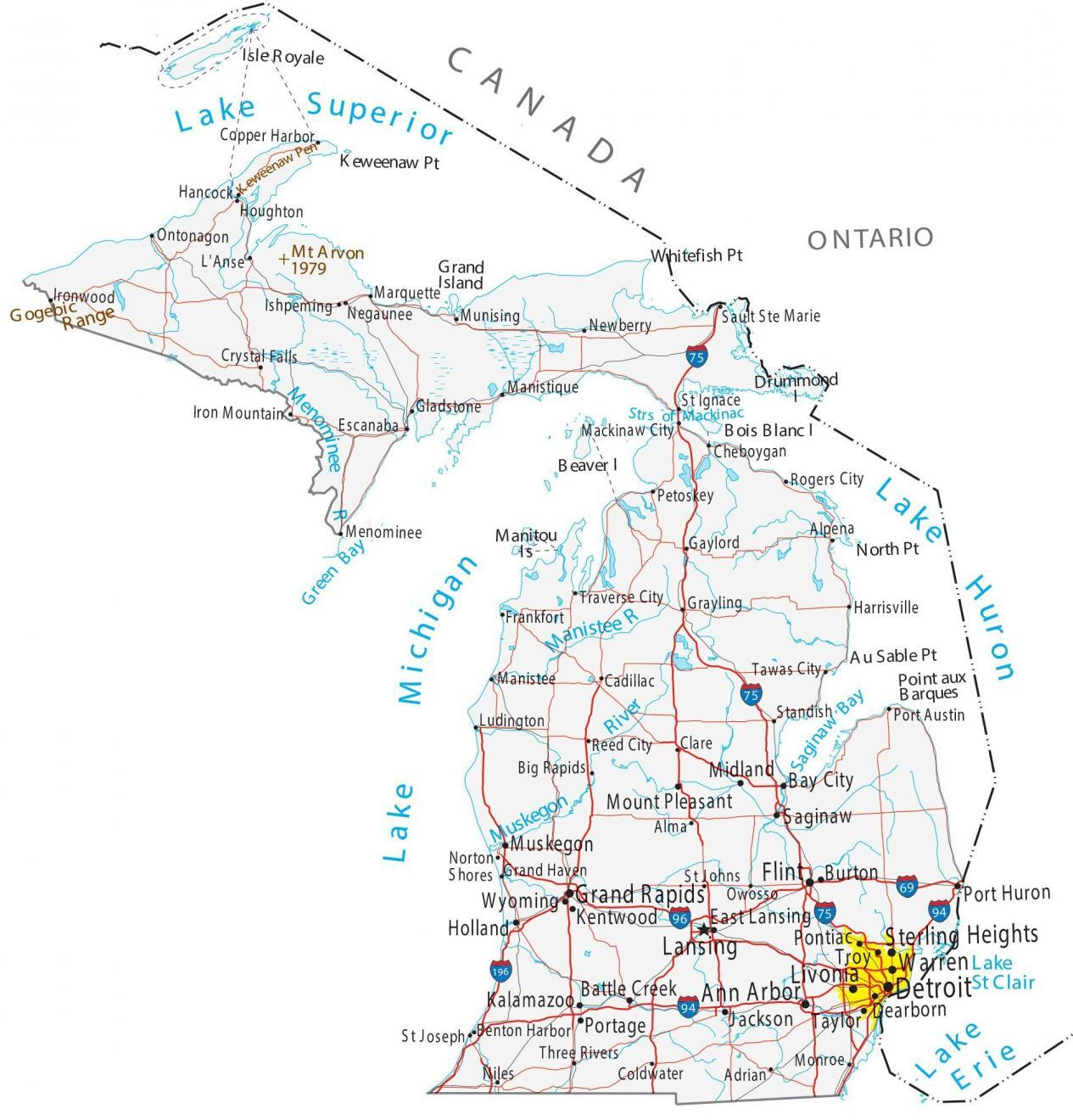 map of michigan cities and roads gis geography map of michigan cities and roads