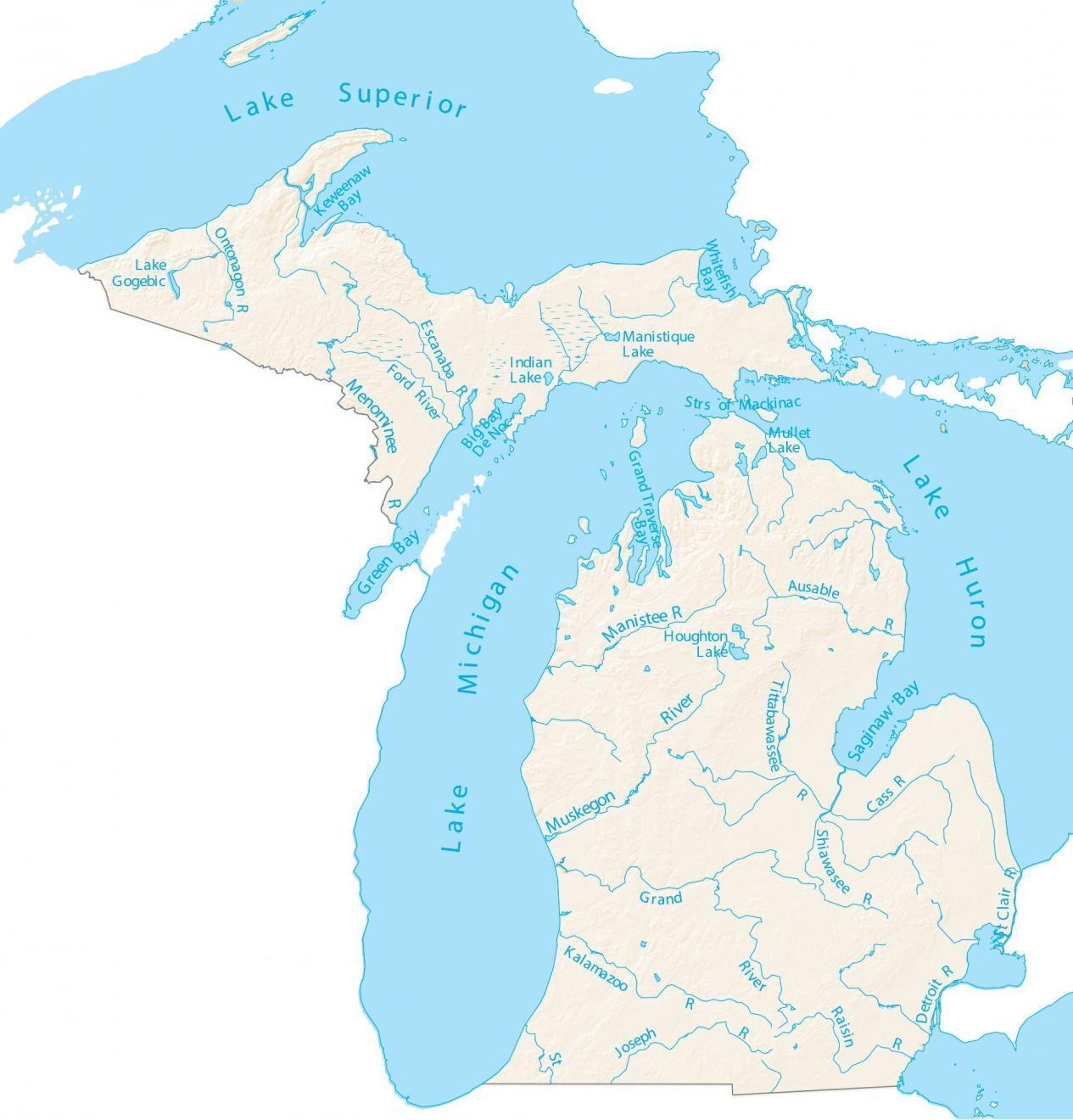 Michigan Lakes and Rivers Map