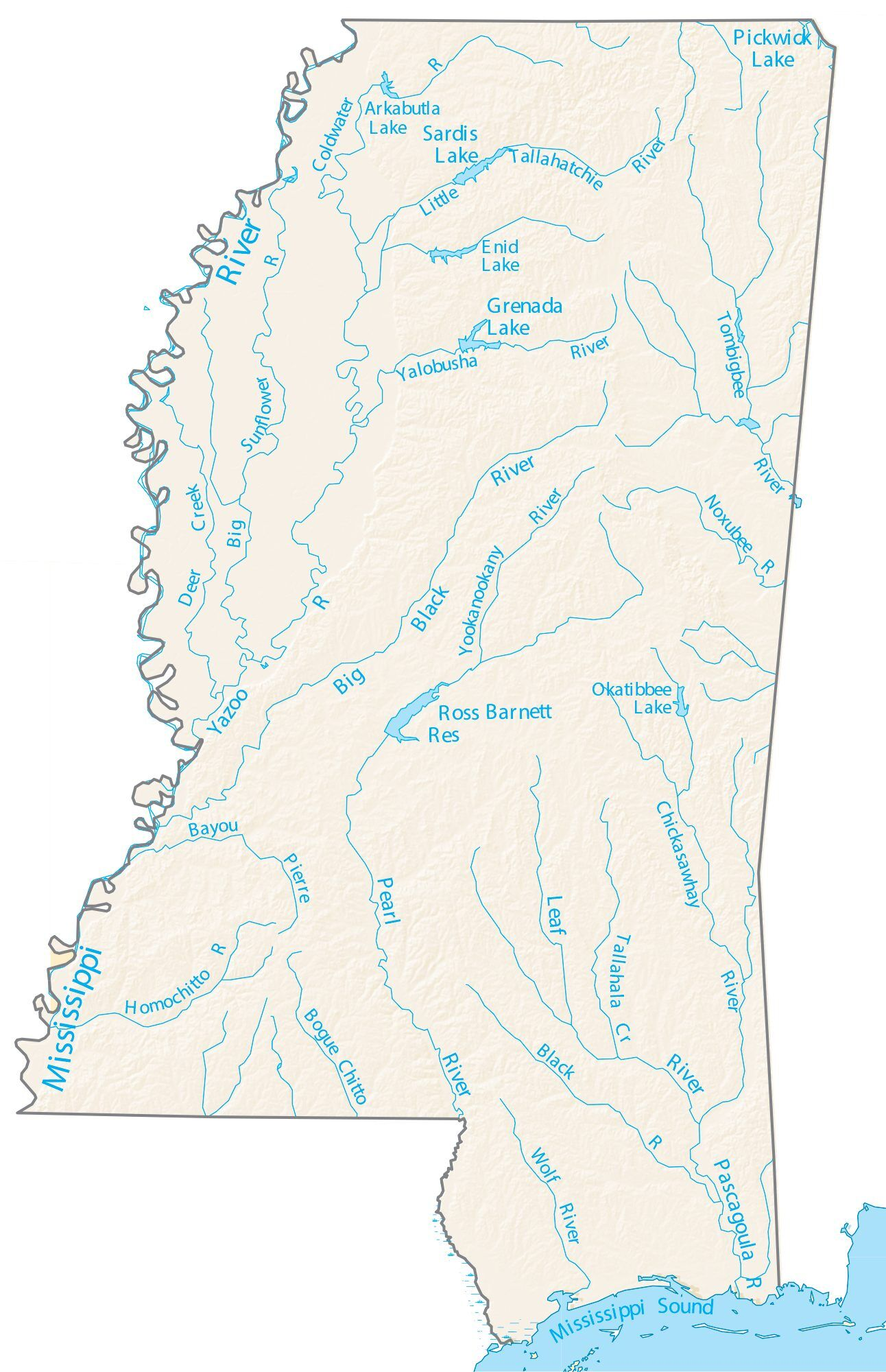 wolf river mississippi map Mississippi Lakes And Rivers Map Gis Geography wolf river mississippi map