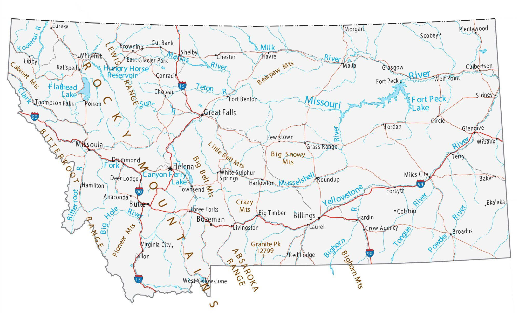 state of montana map with cities Map Of Montana Cities And Roads Gis Geography