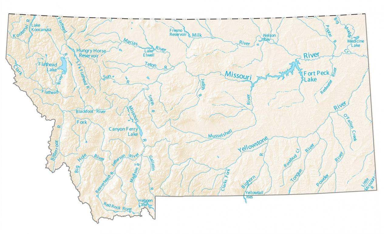 Montana Lakes and Rivers Map