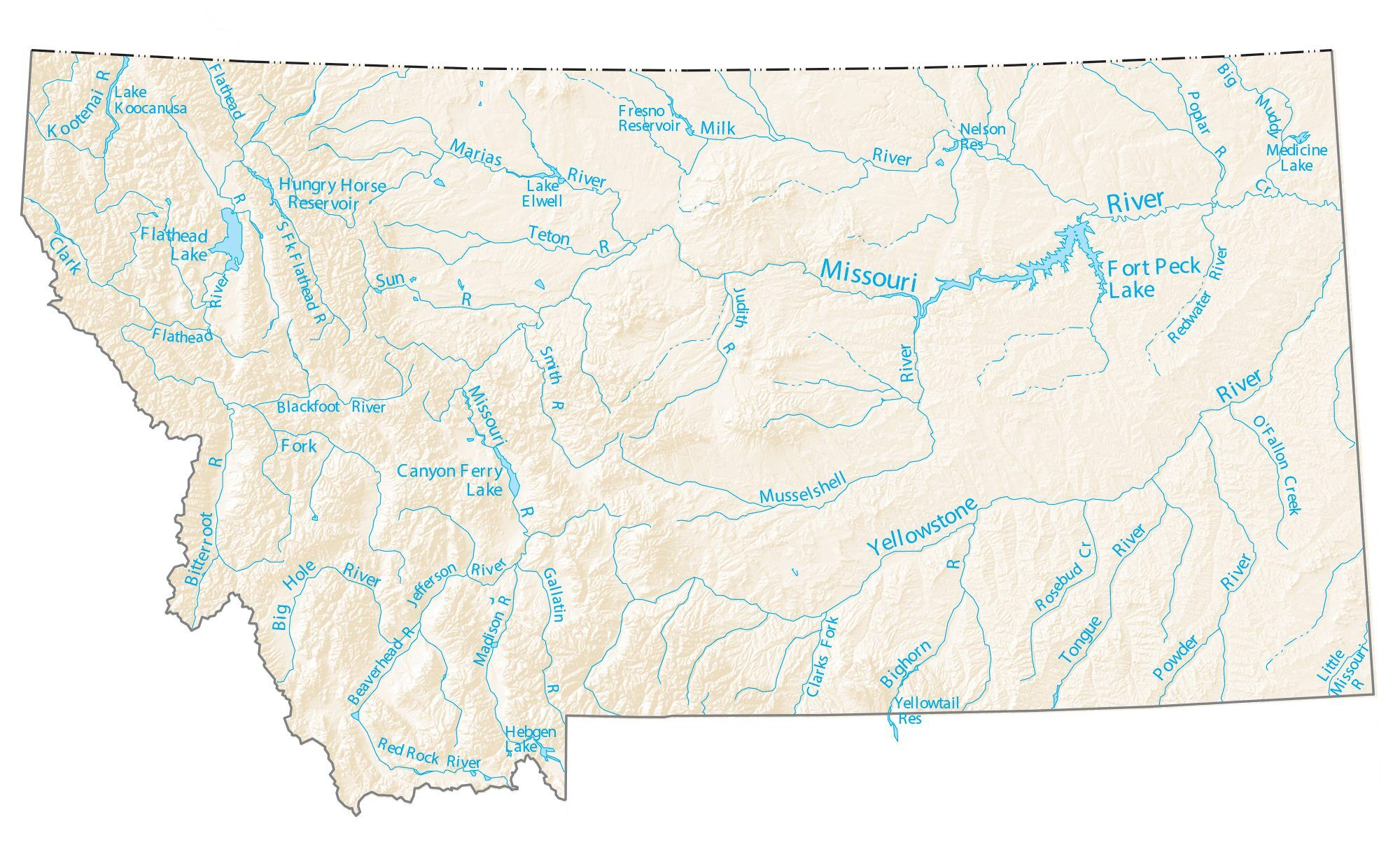 fort peck lake map Montana Lakes And Rivers Map Gis Geography fort peck lake map