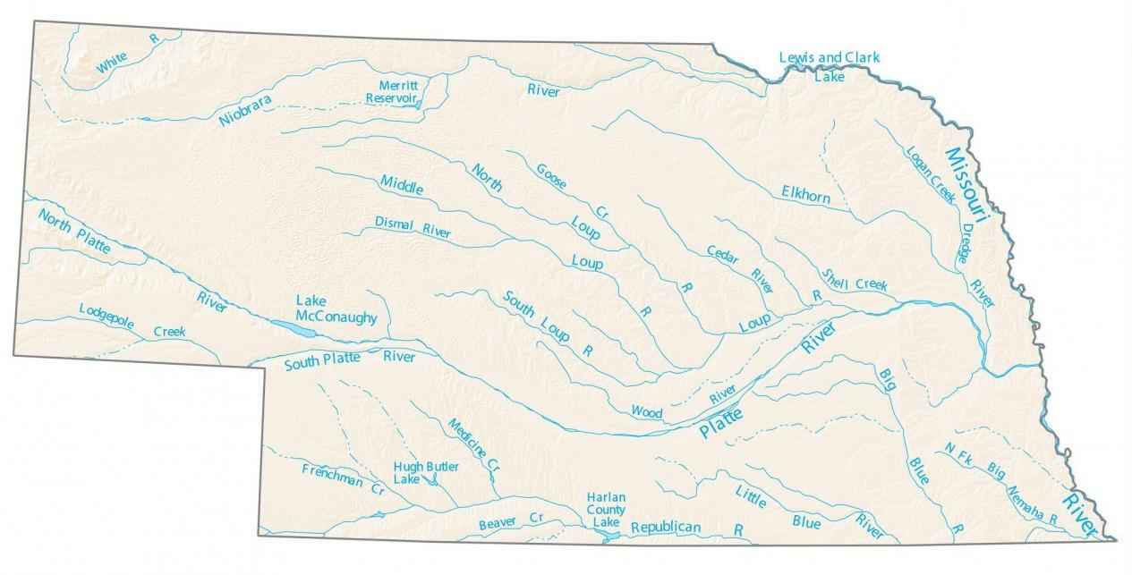 Nebraska Lakes and Rivers Map