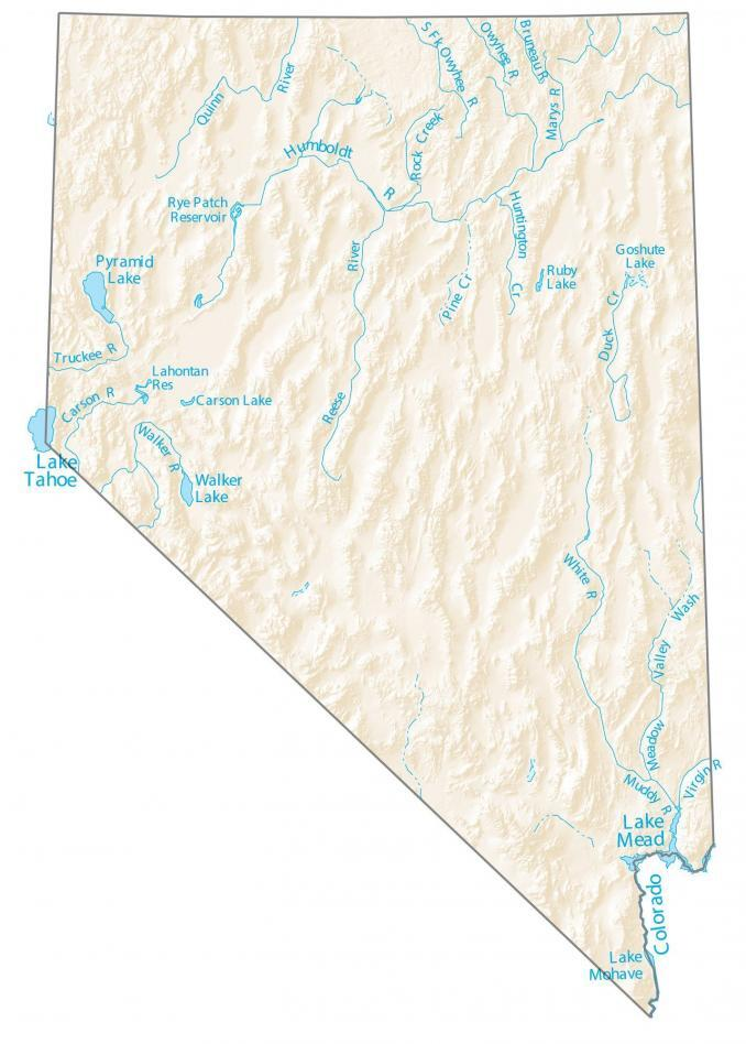 Nevada Lakes and Rivers Map