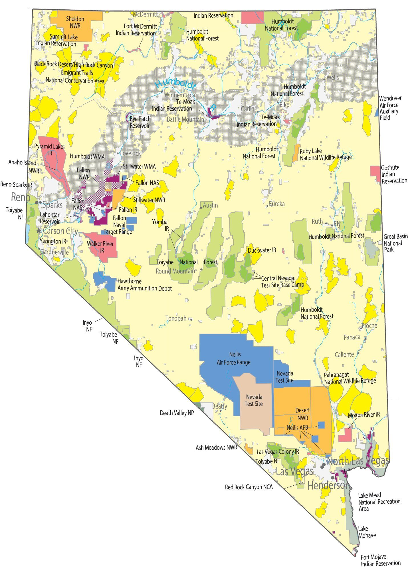Nevada State Map Places And Landmarks Gis Geography