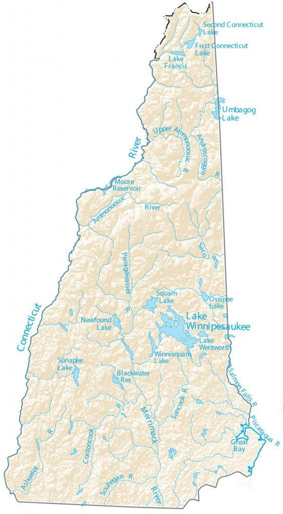 New Hampshire Lakes and Rivers Map