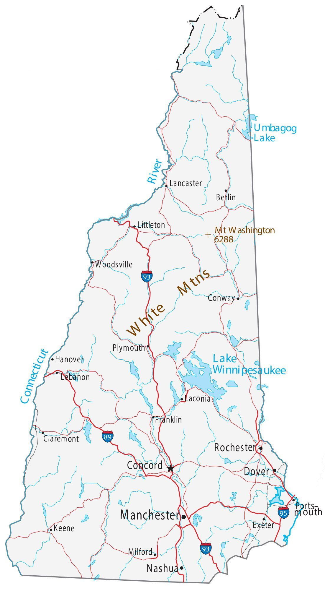 Map Of New Hampshire Cities And Roads Gis Geography,Best Places To Travel In December And January