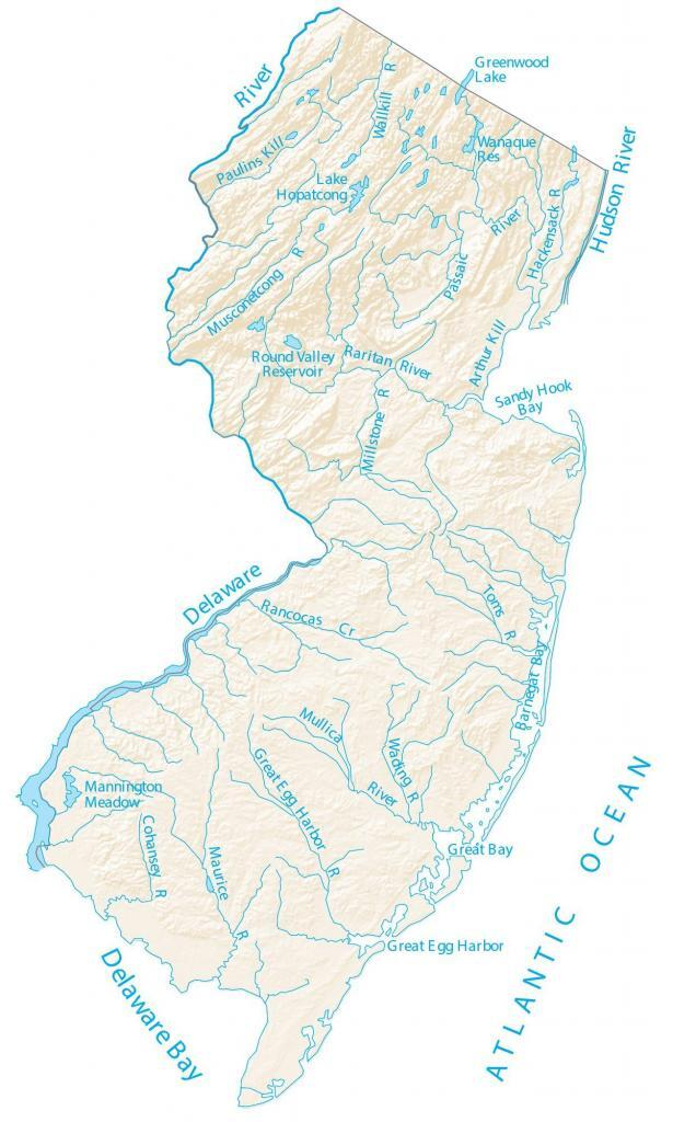 New Jersey Lakes Rivers Map