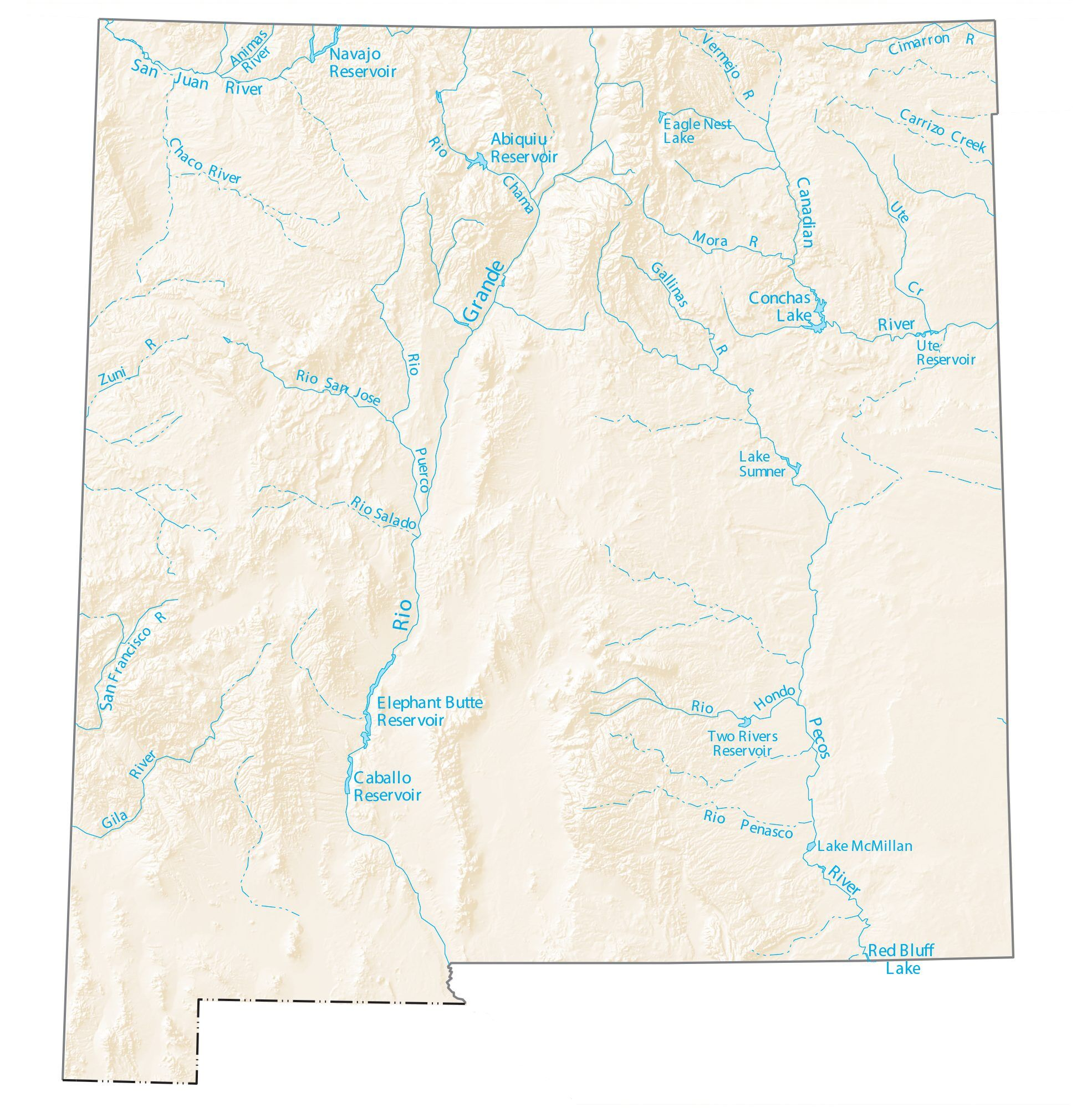 Blank Map Of Canada With Lakes And Rivers.New Mexico Lakes And Rivers Map Gis Geography
