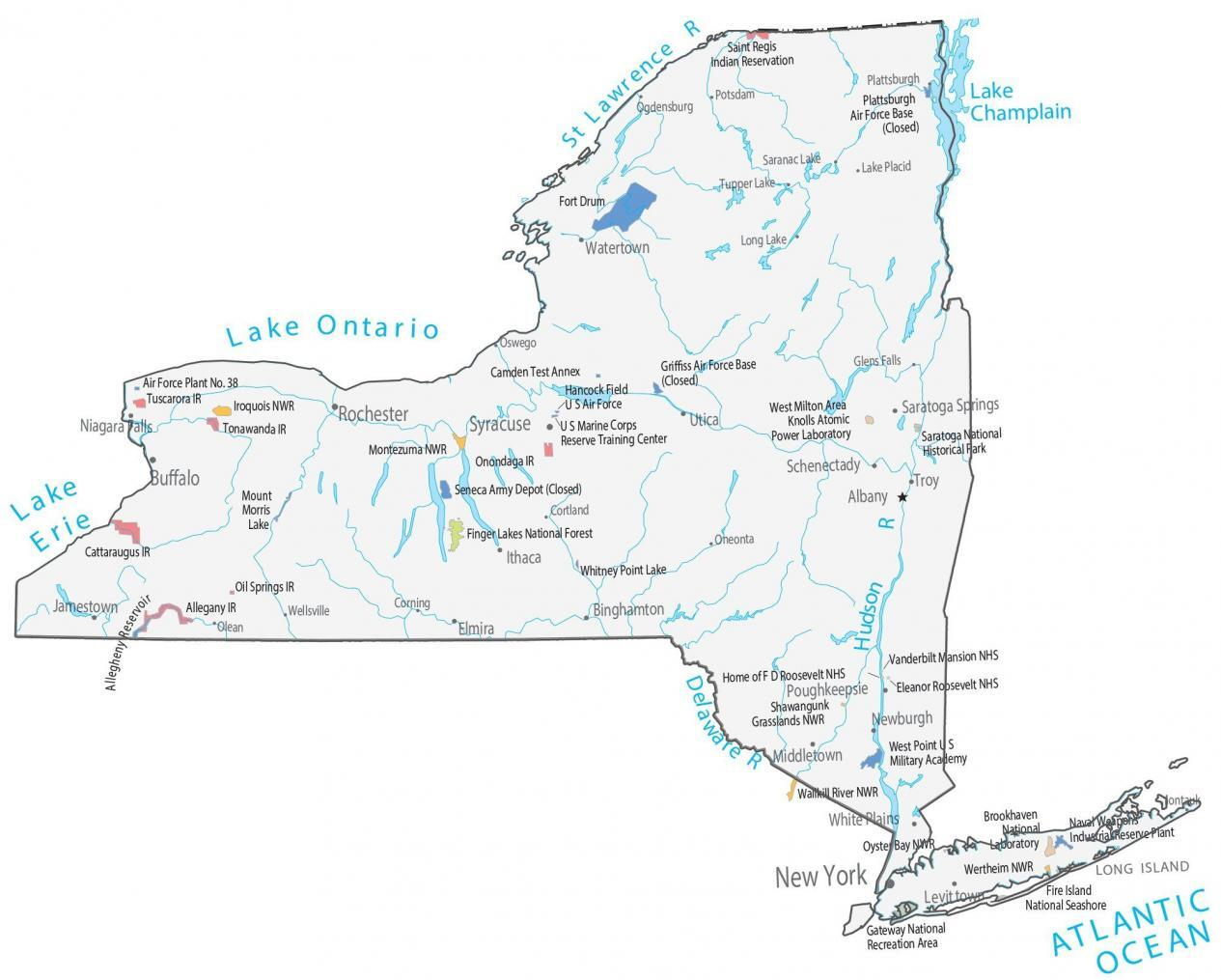 New York State Map Places And Landmarks Gis Geography