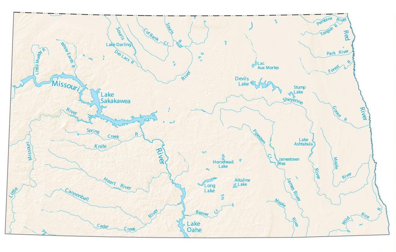 North Dakota Lakes and Rivers Map
