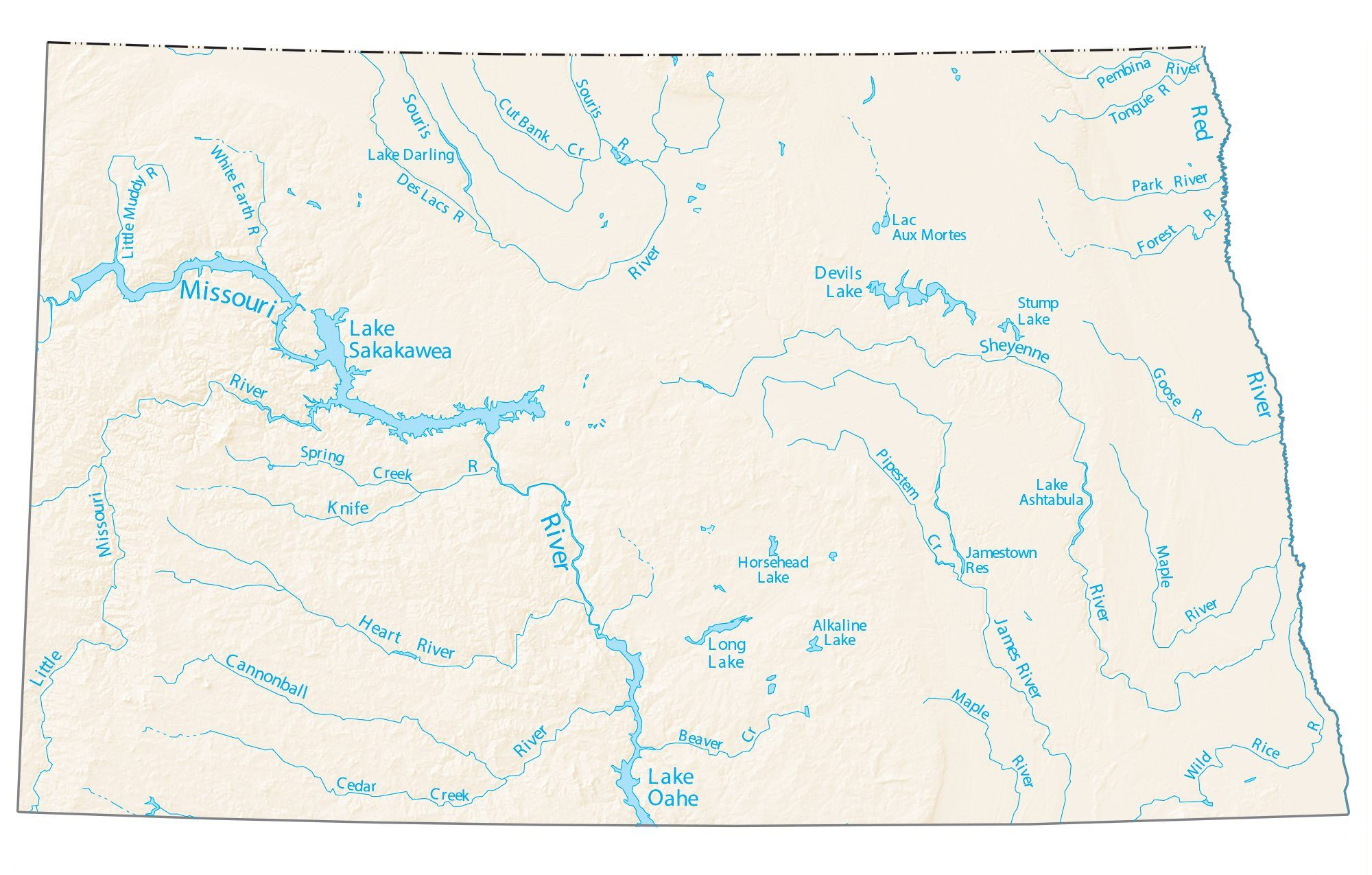 devils lake north dakota map North Dakota Lakes And Rivers Map Gis Geography devils lake north dakota map