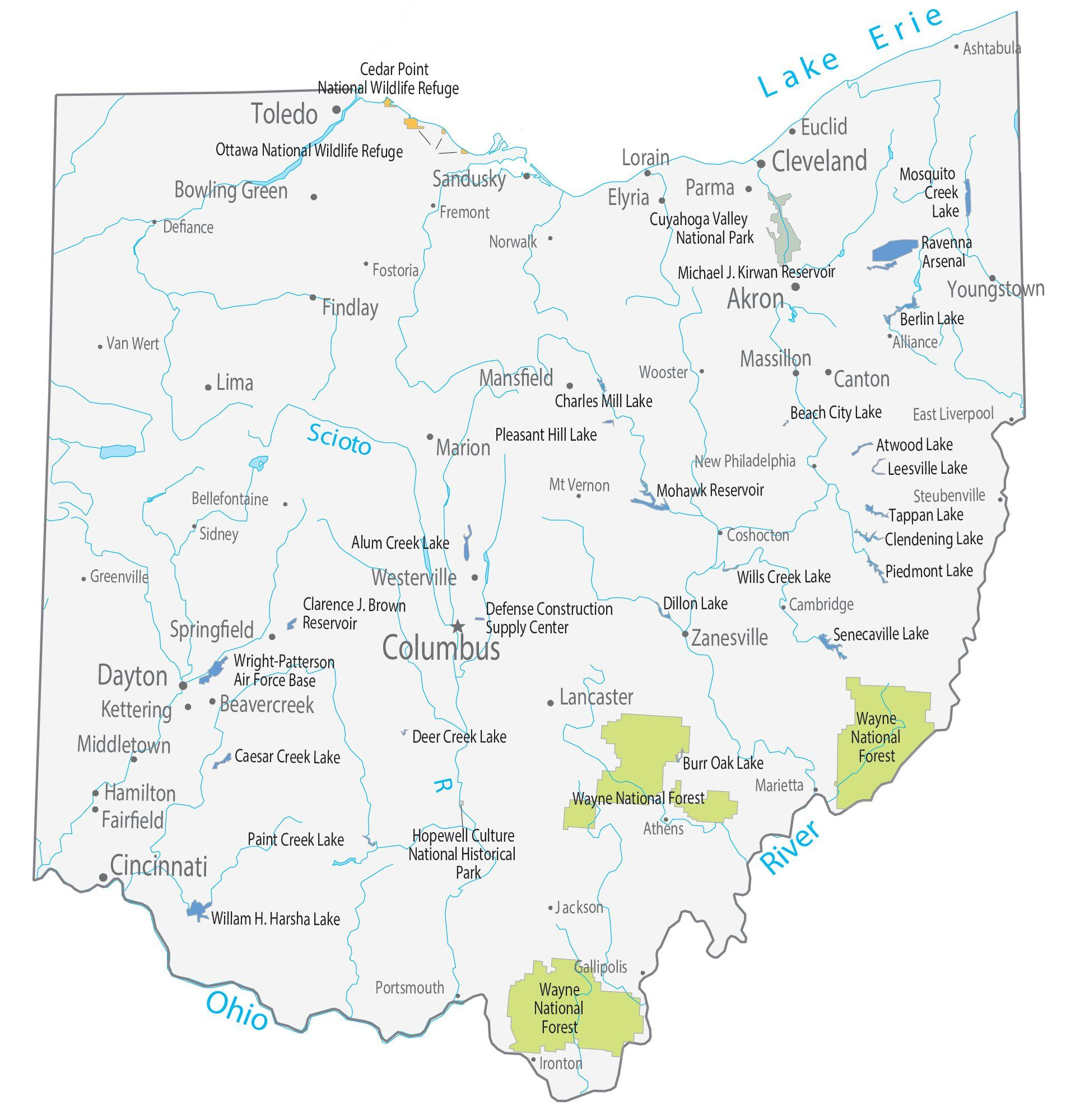 Image of: Ohio State Map Places And Landmarks Gis Geography