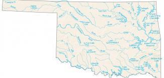 Oklahoma Lakes and Rivers Map