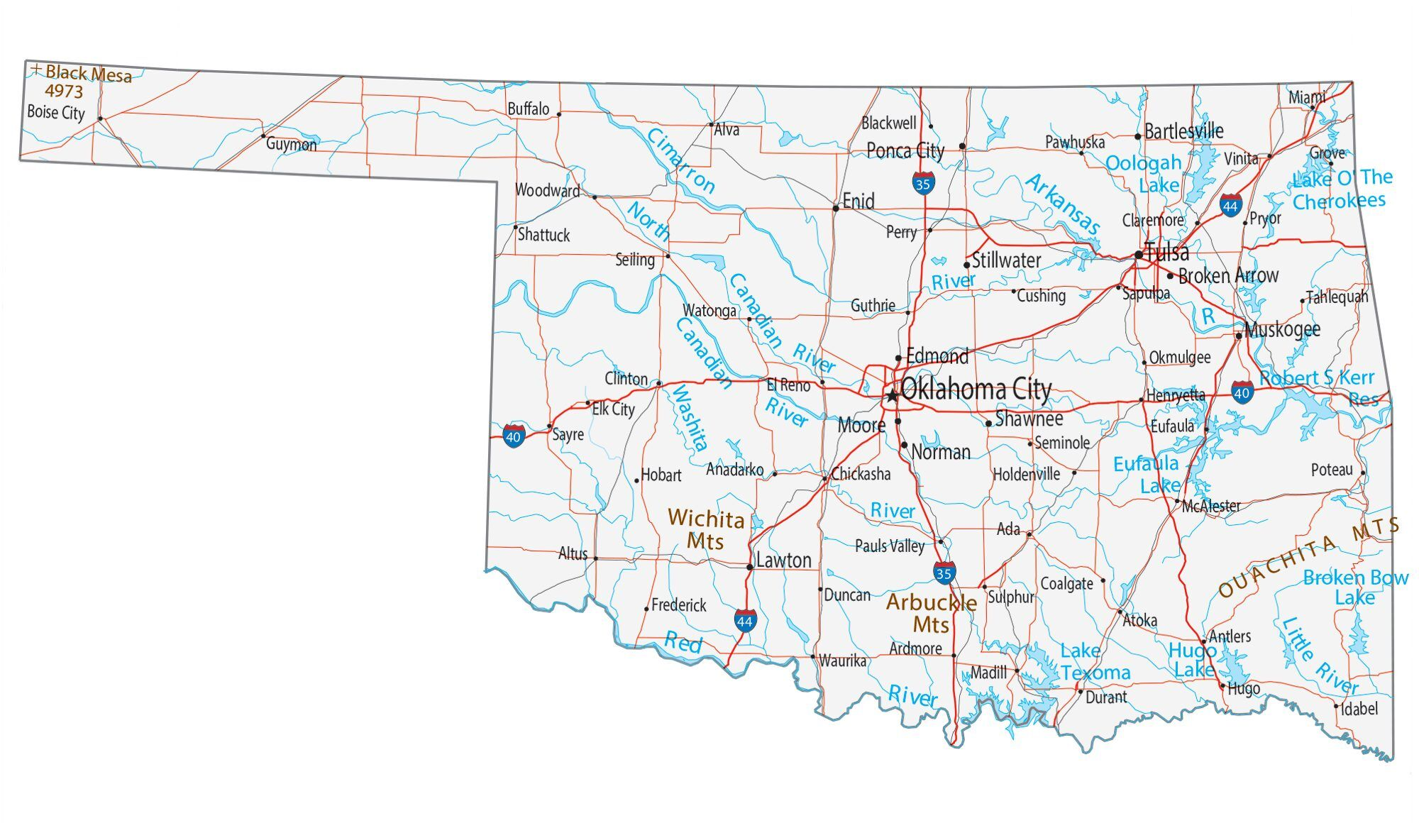 Picture of: Map Of Oklahoma Cities And Roads Gis Geography