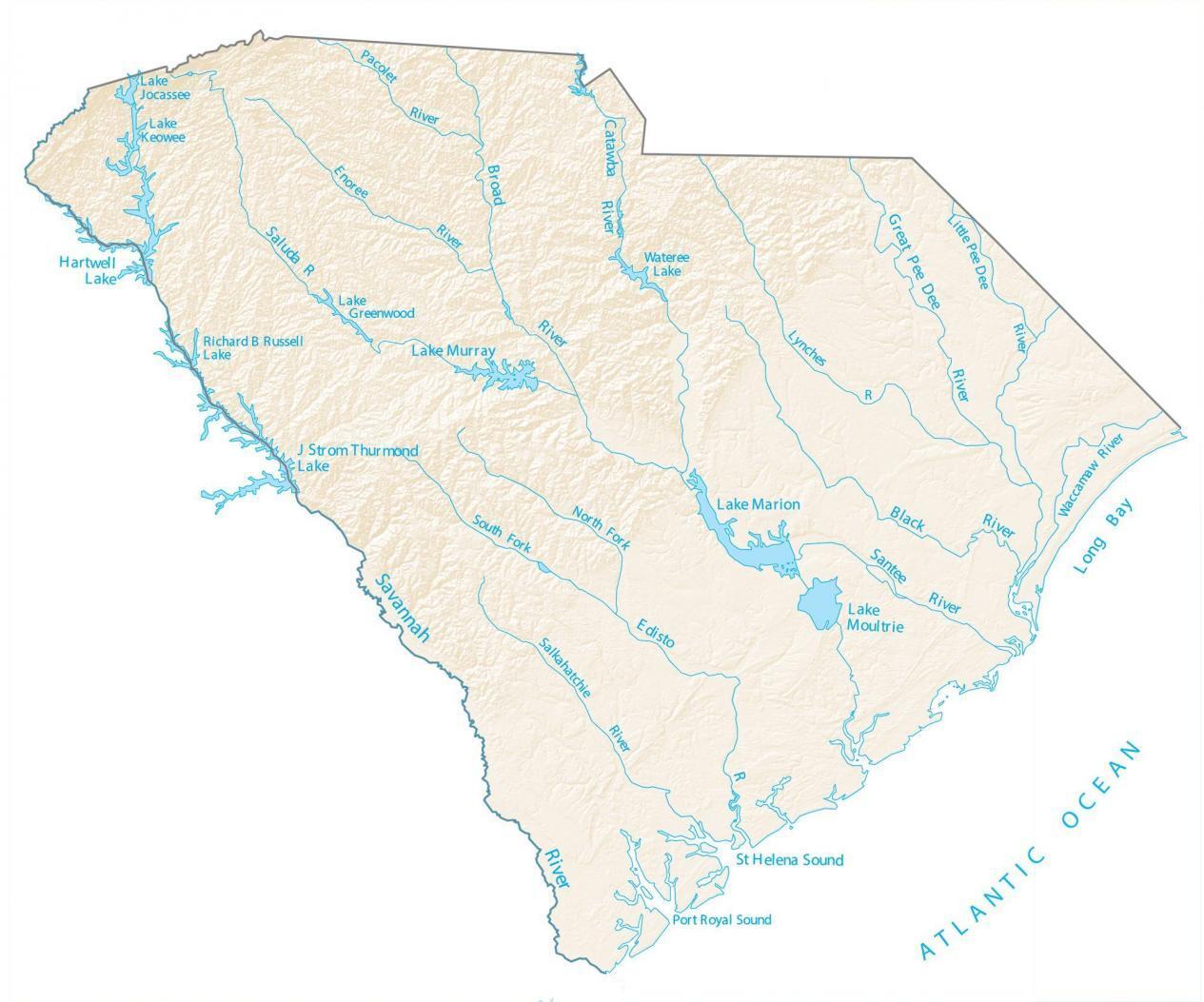 South Carolina Lakes and Rivers Map