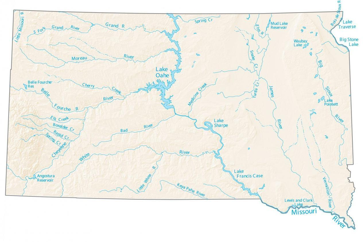 South Dakota Lakes and Rivers Map